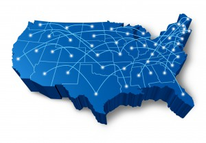 U.S.A 3D map technology communication network symbol represented by a blue dimensional United States with connecting web of fibre optic cell cables with shining center dots.